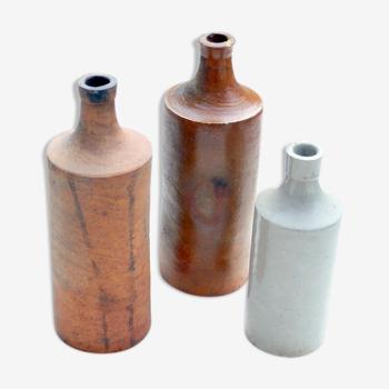 3 Bouteilles d'encres anciennes en grès