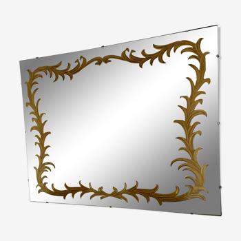 Miroir avec gravure dorée 132x100cm