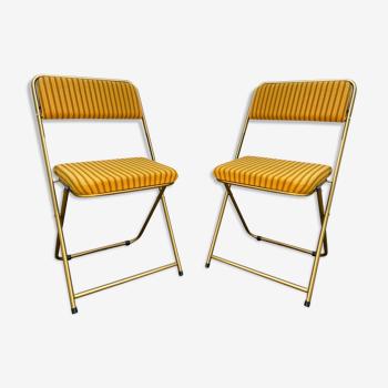 Paire de chaises pliantes Lafuma vintage années 1970
