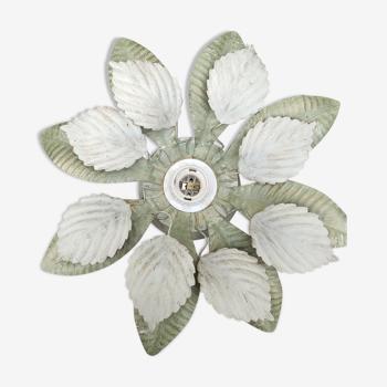 Applique Feuille en métal verte,blanche et doré ou plafonnier