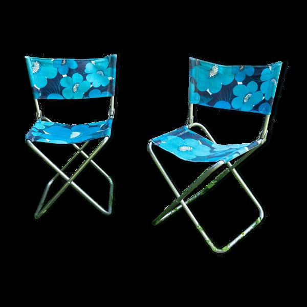 Lot de deux de camping bleu à fleurs