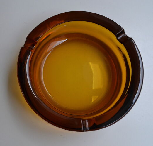 Cendrier verre ambré vintage rond