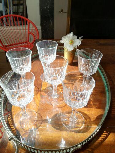 Lot de 6 verres en cristal