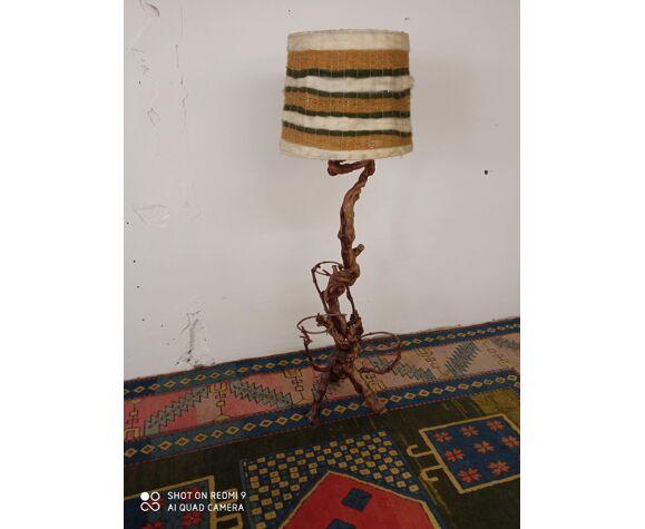 Lampadaire porte plantes années 70 en cep et abat-jour en laine
