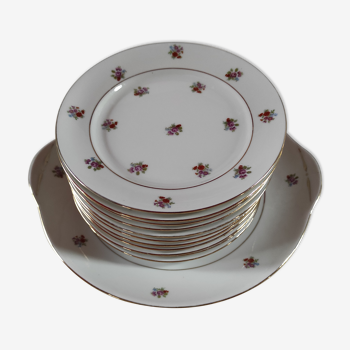 Service a dessert en porcelaine comprenant 11 assiettes a dessert de 19cm et un plat à gateau