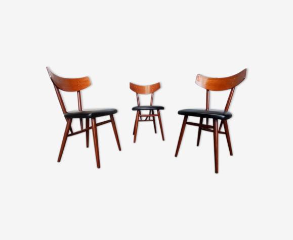 Suite de 3 chaises de style scandinave en palissandre