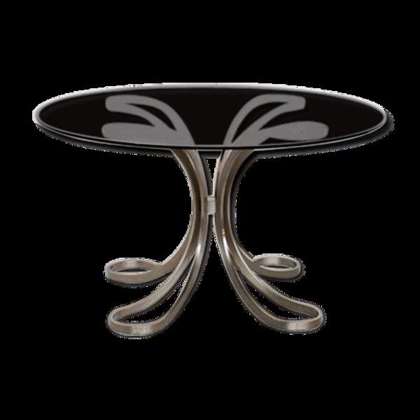 Table acier et verre années, 70