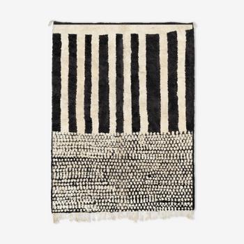 Tapis marocain moderne blanc art contemporain 90x150cm