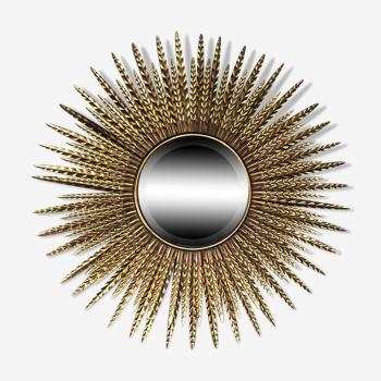 Miroir soleil epis avec miroir plat biseauté doré - 87 cm