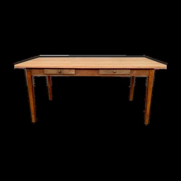 Table de ferme en bois à 2 tiroirs