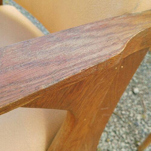 Fauteuils bridges vintage skaï et bois pieds compas