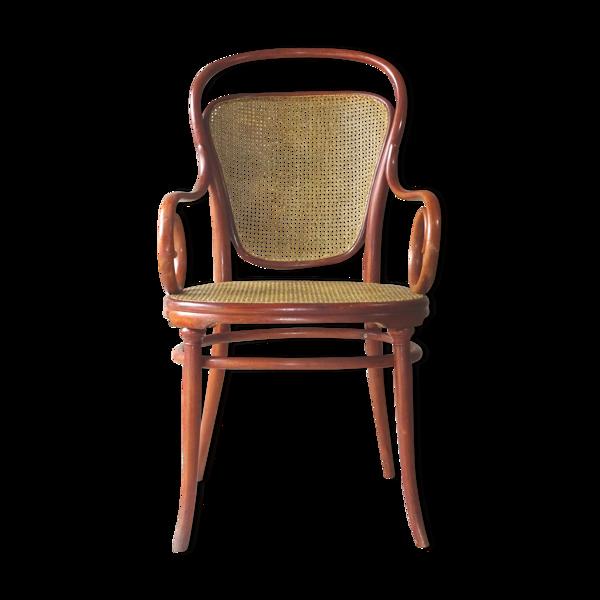 Fauteuil viennois Thonet N°12, fin cannage, 1885,teinte merisier