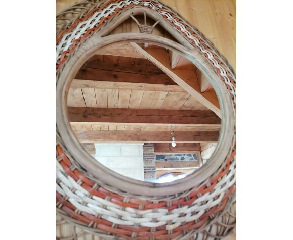 Miroir rotin bombé avec décor orange/blanc années 60/70