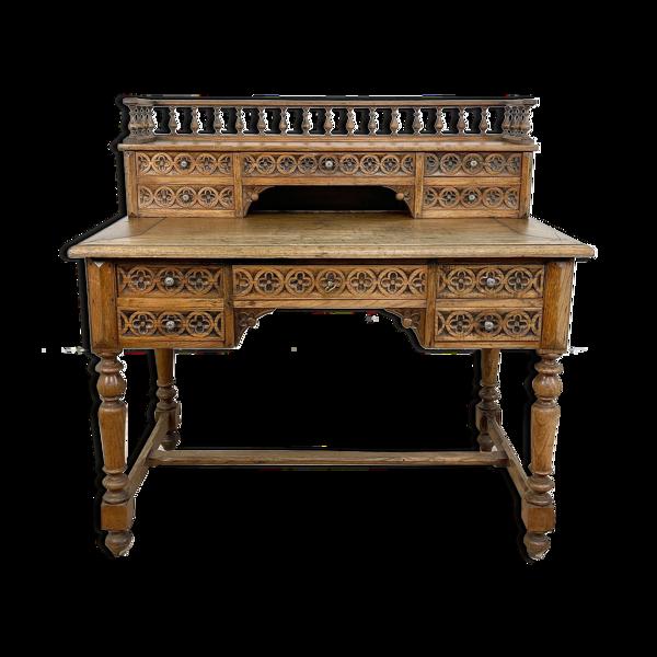 Bureau breton en chêne sculpté antique France 19ème siècle