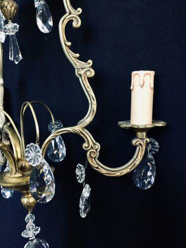 Lustre cage 3 lumière bronze et cristal