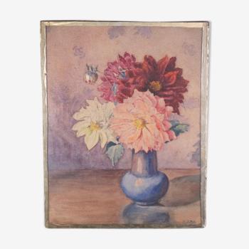 Watercolor dahlias by Joseph Martin Duby