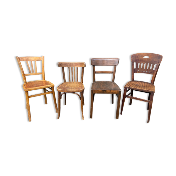Set de 4 chaises bistrot dépareillé bois courbé brasserie bentwood