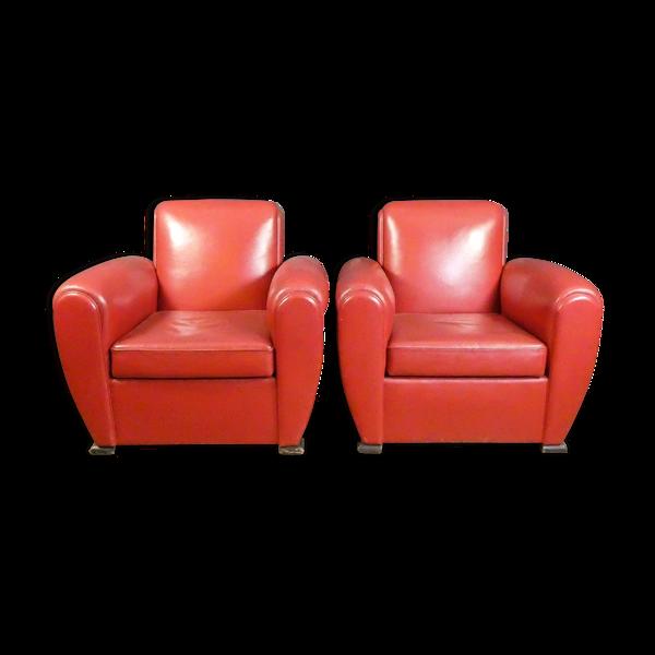 Ensemble de 2 fauteuils vintage en cuir rouge