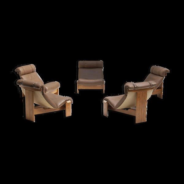 Ensemble de cinq fauteuils en cuir des années 1970