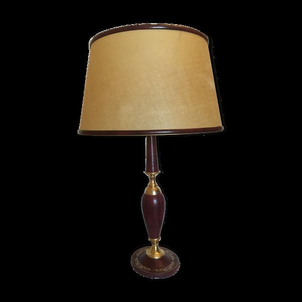 Lampe de bureau ou de salon pied gainé cuir