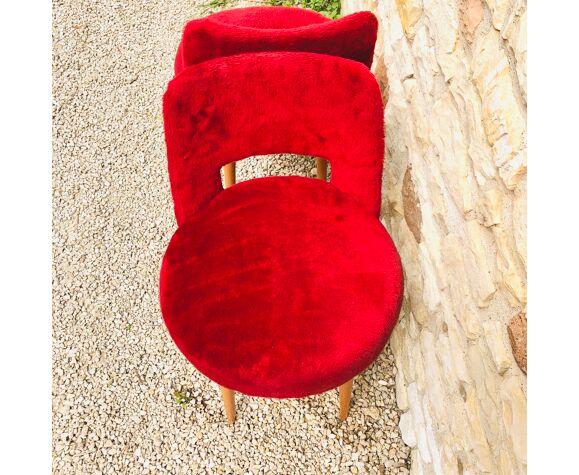 Chaises en fausse fourrure rouge