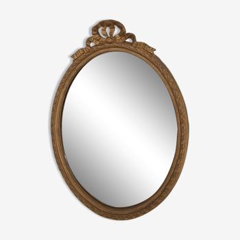Louis XVI-style golden oval mirror h 60 cm