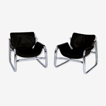 Paire de fauteuils Sling Alpha noirs en cuir par Maurice Burke pour Pozza Brazil
