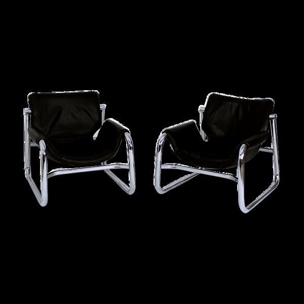 Selency Paire de fauteuils Sling Alpha noirs en cuir par Maurice Burke pour Pozza Brazil