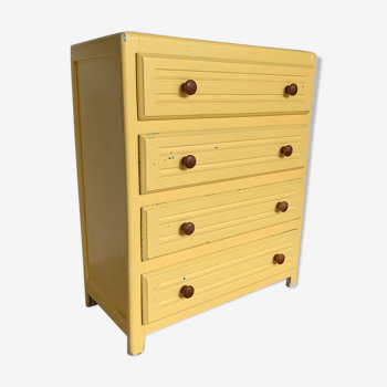 Commode parisienne vintage jaune