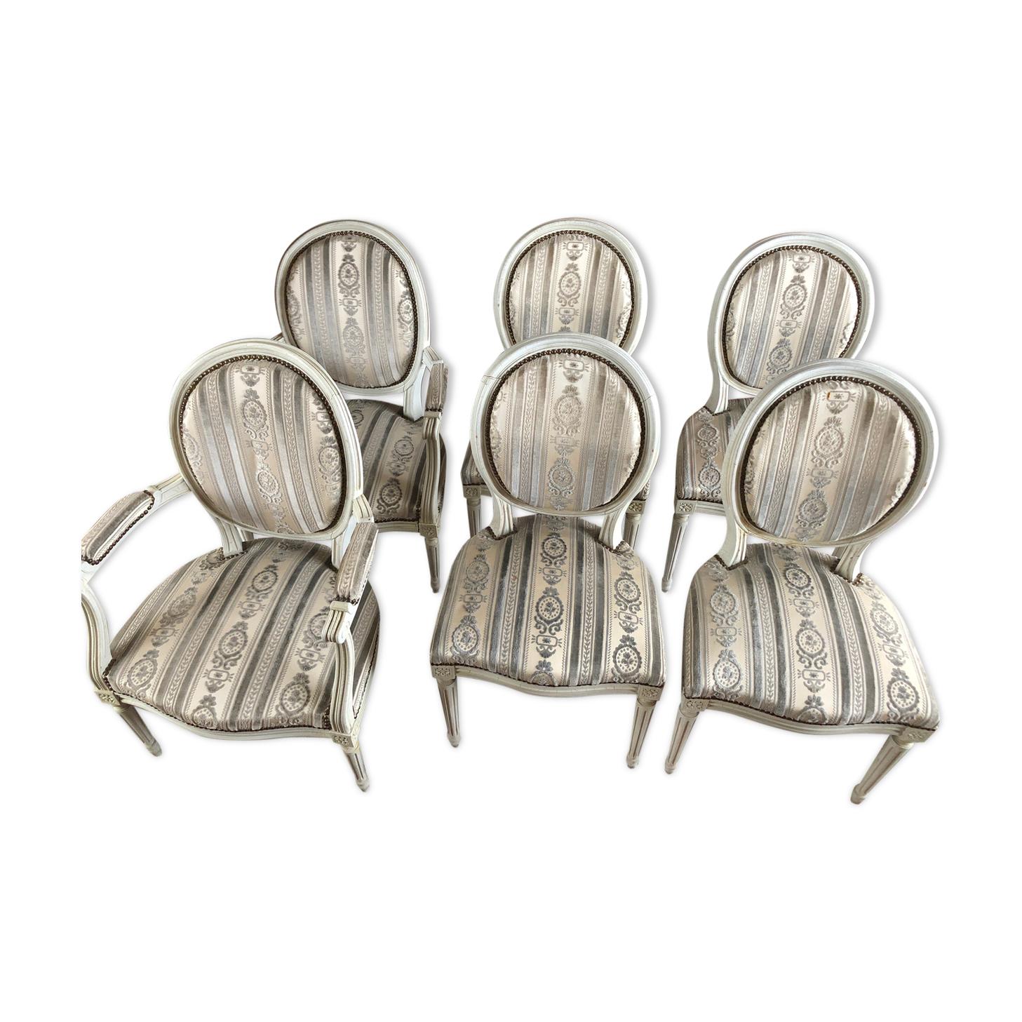 4 chaises médaillon et 2 fauteuils style Louis de 1974