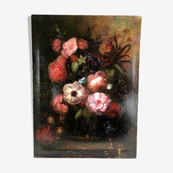 Huile sur toile, bouquet de fleurs XXe