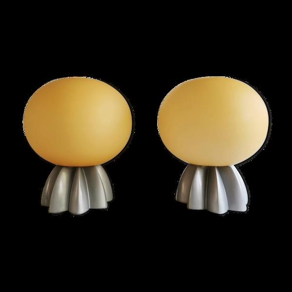 Ensemble de 2 belles lampes de table Foscarini avec verre de Murano années 80