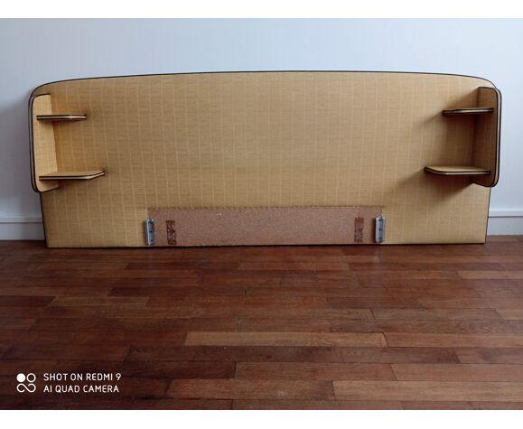 """Lit vintage en skaï """"paille"""" 1960"""