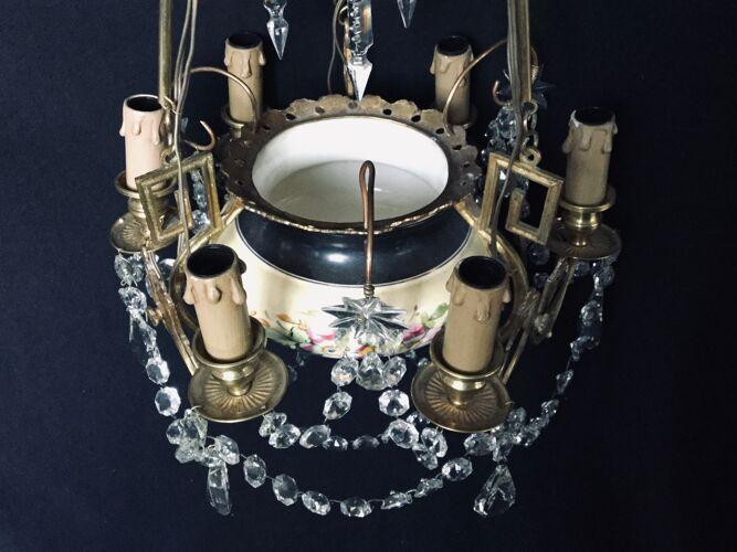 Lustre 6 lumières en cristal bronze et faïence