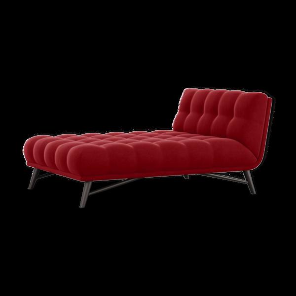 Méridienne Roche Bobois modèle Profile, velours rouge capitonné