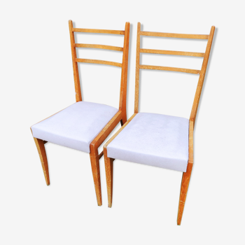 Paire chaise pieds compas