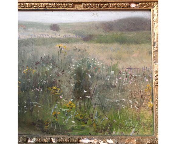 """Tableau Post impressionniste """"La prairie fleurie"""" par François Moreau - 1918"""