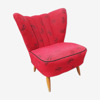 Red fabric cocktail chair