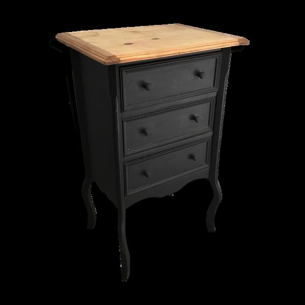 Commode en bois blanc laquée noir XXème