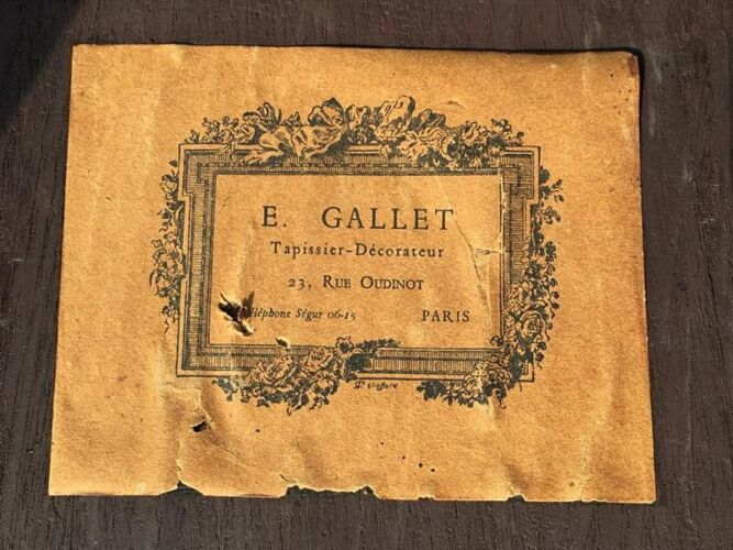 Table bouillotte en marqueterie E. Gallet Paris