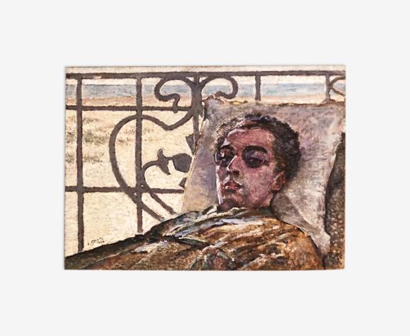 Tableau huile sur toile, portrait d'un jeune homme à lunettes