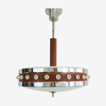 Vintage Scandinavian chandelier in chromed metal, glass wash-up. Chandelier 3 lights. Year 60