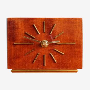 Horloge de table allemande en bois vintage années 60