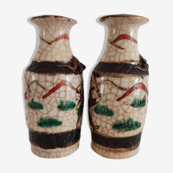 Paire de vases Chinois Nankin de petite taille 11,5 cm
