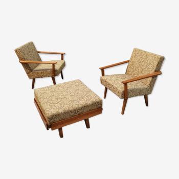 Paire de fauteuils et repose pieds Tatra Nabytok Pravenec