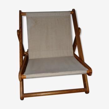 Chaise (83 cm) pliable en bois massif et toile