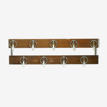 Wall Mounted Chromed Steel and Wooden Coat Rack 1960s