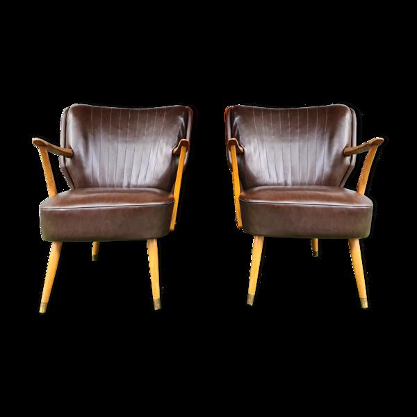 Paire de fauteuils cocktail 50'