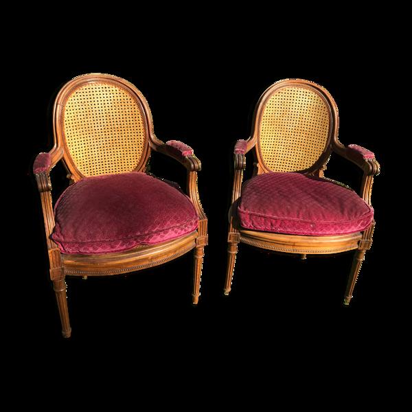 Paire de fauteuils style Louis XVI cannage