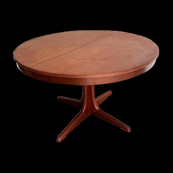 Table Baumann ronde acajou avec rallonges des années 1970 de type scandinave